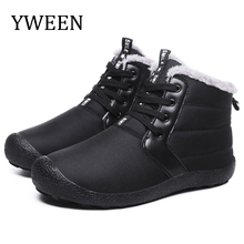 YWEEN Wholesale Men Boots Winter Shoes Warm Fur Snow Plush Inside Anti Skid Bottom Waterproof Black