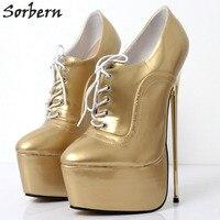 Sorbern/сверхвысокая платформа; женские туфли лодочки; женские туфли на высоком металлическом каблуке 22 см; туфли на шнуровке; сезон весна; 2018; м