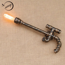 Loft Industrial gun style iron Water pipe retro wall lamp sconce wall lights with switch E27 LED for home living room bedroom(China)