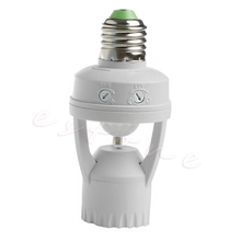 E27 LED Lamp Bulb Light Holder Switch Infrared PIR Motion Sensor Bulb Base AC 110V-240V ac 110 220v 360 degrees pir induction motion sensor ir infrared human e27 plug socket switch base led bulb light lamp holder