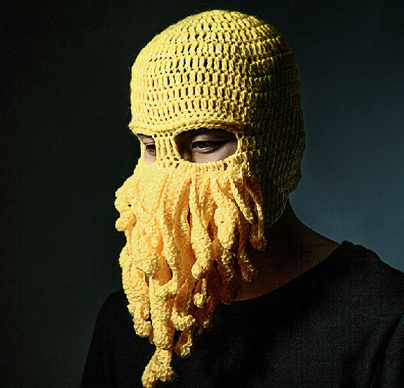 1x Unique Style Knitted Crochet Wool Ski Face Mask Octopus Hat Squid Cap  Beanie Neck Warmer Full Facemask Face Warmer-in Skullies   Beanies from  Apparel ... dbc90cb881f6