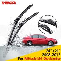YIKA 24 21 For Mitsubishi Outlander 2008 2012 Car U Type Glass Rubber Windshield Wiper Blades
