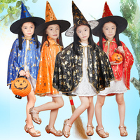 Free Delivery Boy Girl Kids Children Halloween Costumes Witch Wizard Cloak Gown Robe And Hat Cap