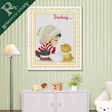 Романтическая история мультфильм девушка и картины собака Счетный DIY вышивки крестиком хлопковые ленты для рукоделия DMC наборы крестиков