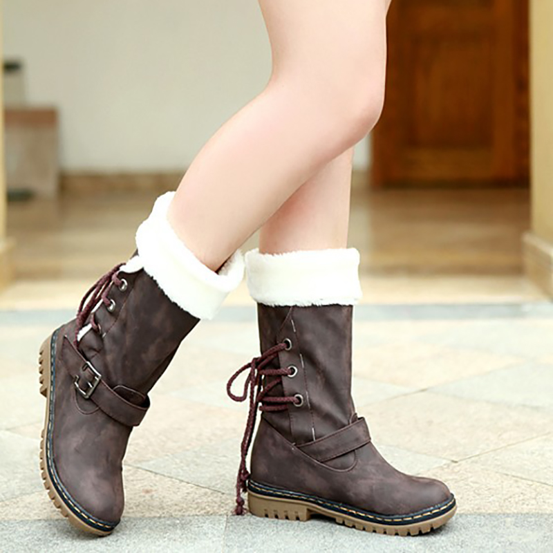 Snow Boots Mid Calf Boots Black Coffee Yellow Flat Women Shoes Fashion Buckle Martin Boots Ladies Fur Winter Boots Plus Size 46 winter women snow boots warm plush shoes cross tied mid calf flat platform boots female buckle fashion plus size shoes abt1077