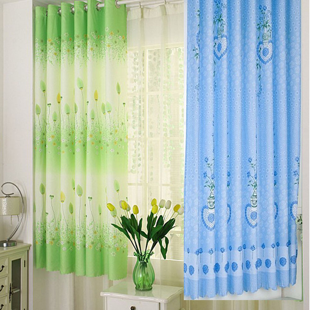 Love Heart Calico Finished Product Cloth Window Screens Sheer Drapes  Curtains For Living Room Tulle Cortinas
