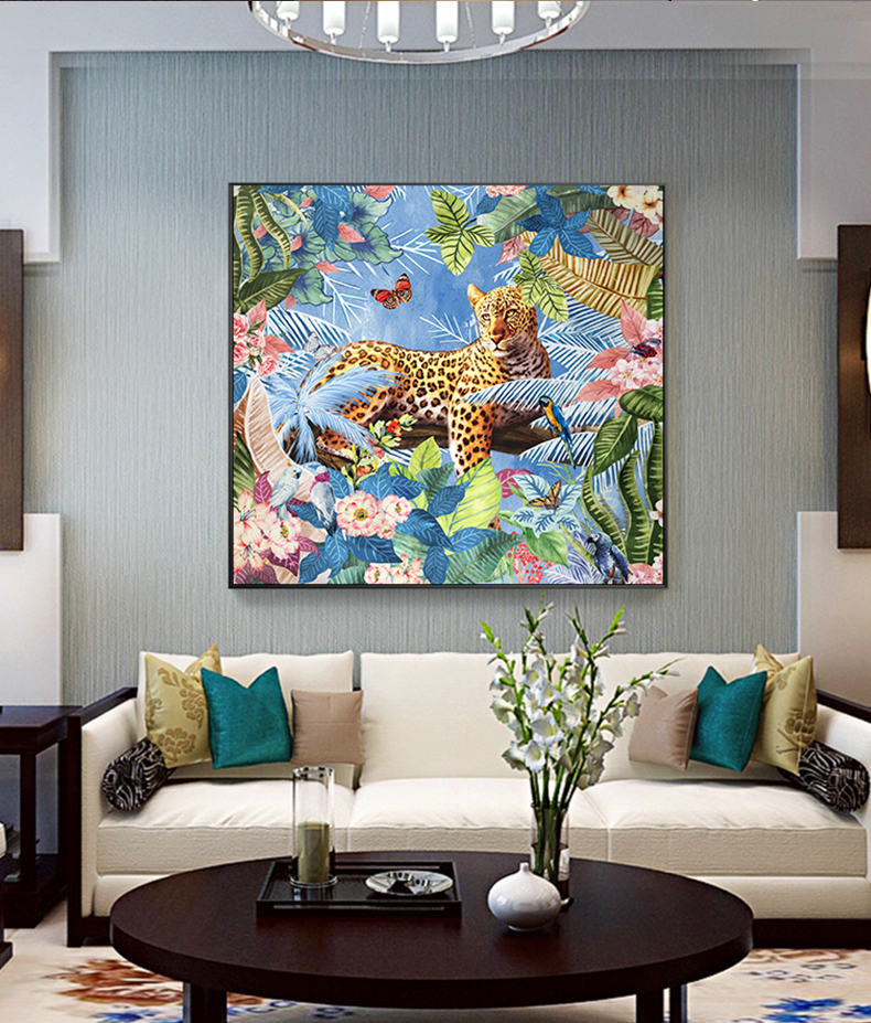 Leopard Bedroom Ideas For Painting: Modern Leopard With Flowers Canvas Painting Poster Print