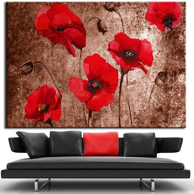 1pcs huge picture abstract flower painting print on canvas red poppies on brown canvas print living