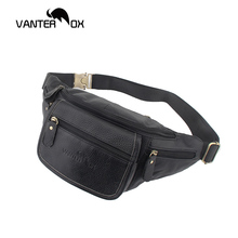VANTER OX Fashion Waist Bags New Vintage Solid Pack Chains Black Genuine Leather Packs Chest Phone Pouch 087