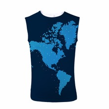 FORUDESIGNS Tomboy Tank Top 3D Map Design Print t Men Shirt Sleeveless Tee Bodybuilding Stringer Male Streetwear Crew Neck XXL