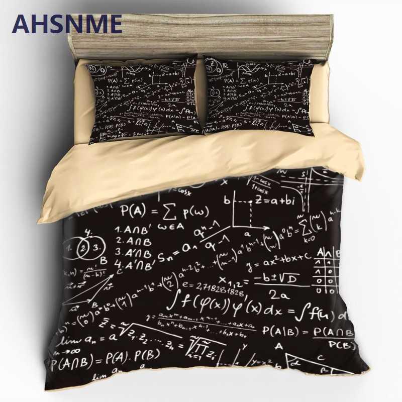 AHSNME брендовые товары новинка подарок математическая формула шаблон набор постельных принадлежностей одеяло пододеяльник + 2 наволочки для двойной полный королева король кровать