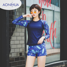 Aonihua Long Sleeve Swimsuit With Shorts Women Two pieces Swiming Suit Floral Printed Surfing Bathing Suits 2019 New