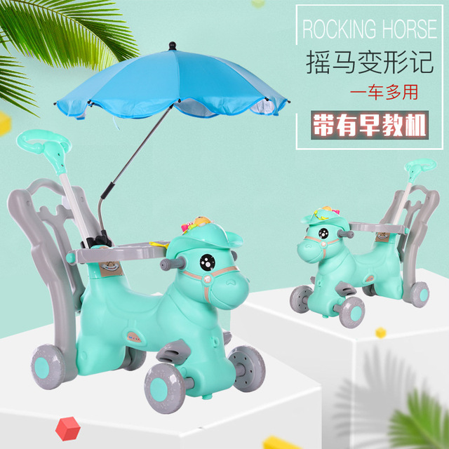 Baby Rocking Chair Children Ride on Horse Toy Stroller with Music Infant Rocker Chair Foldable Four Wheels Baby Stroller 3 In 1 1
