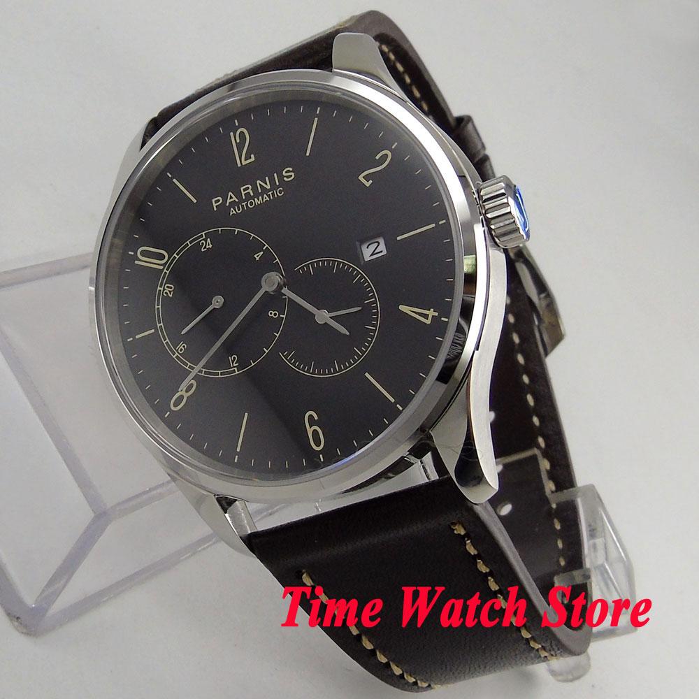Parnis 42mm men's watch sapphire glass black dial date 5ATM 24 hours Golden MIYOTA Automatic movement wrist watch men 1029