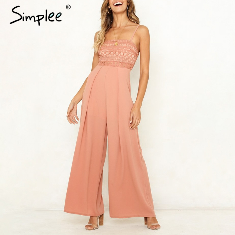 Simplee Sexy strap lace hollow out women jumpsuit romper Elegant embroidery wide-leg jumpsuit long overall Solid summer playsuit