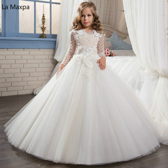 Girls WhiteTutu Princess Wedding Dress Children Birthday Gifts Costumes Piano Dance Show Hosted Hollow Out Long Dress hollow out skinny long sleeve dress