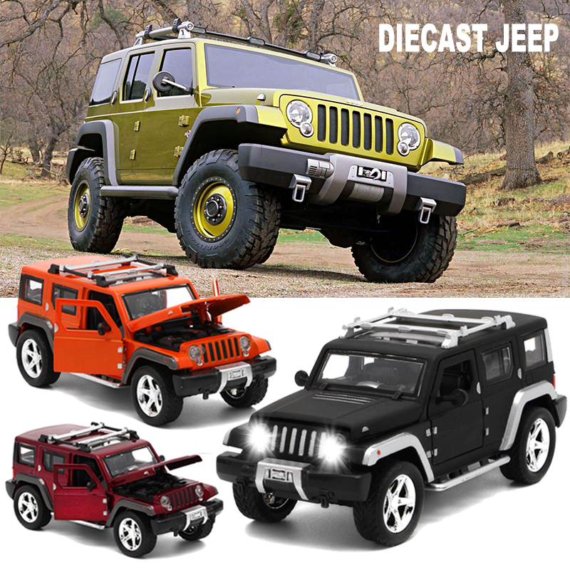 15Cm length Diecast Jeep Wrangler Model Cars Metal Toys For Children With Openable Doors Music Light