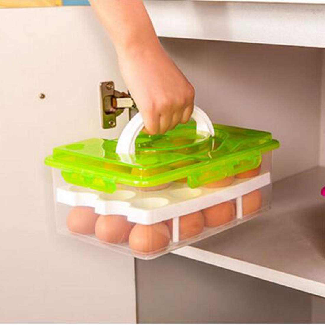 24 Grids Convenient Egg Food Storage Box Kitchen Refrigerator Anti-Collision Tray Container Accessories Supplies Cases