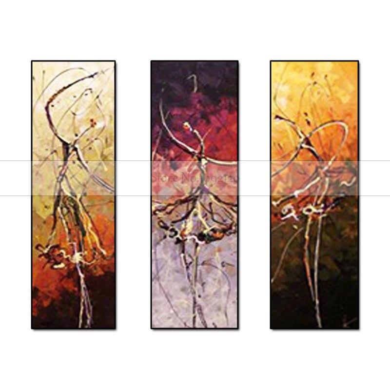 3 Stks/set Handgeschilderde Abstract Canvas Schilderen Ballerina olieverf Balletdansers Muur Art Geen Ingelijste Decor Mode Foto-in Schilderij & Schoonschrift van Huis & Tuin op  Groep 1