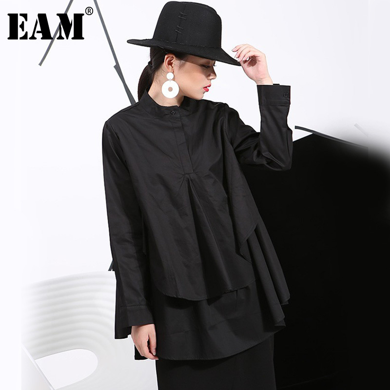[EAM] 2019 Spring Plus Size Long Shirts Women Blouses Long-sleeve White Loose Tops Black White Cotton Shirt Big Size C006111