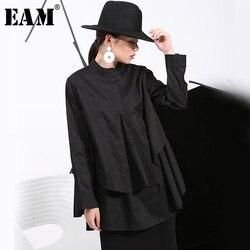 [EAM] 2019 Spring Plus Size Long Shirts Women Blouses Long-sleeve White Loose Tops Black White Cotton Shirt Big Size C006111 1