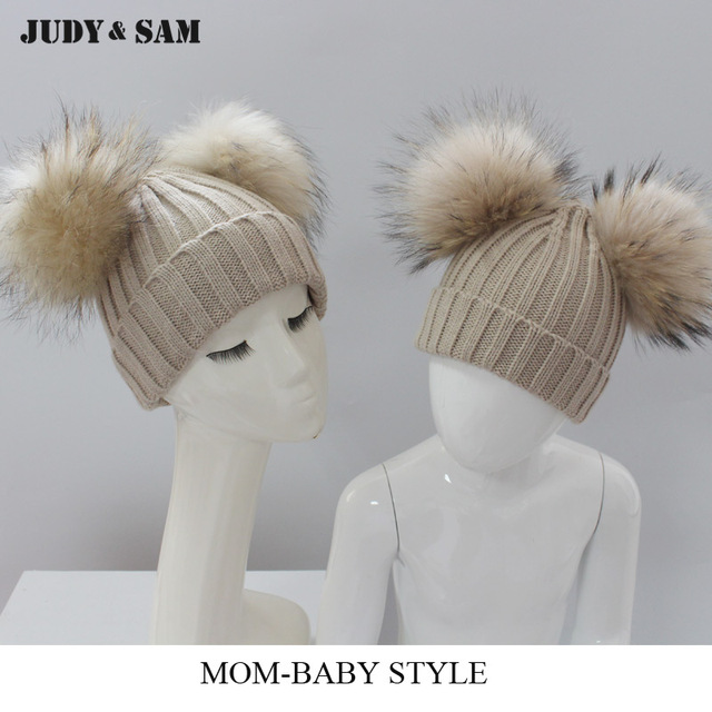 d7d6933f US $28.8 |Aliexpress.com : Buy Most Popular Adult Kids Hat Set Double Pom  Poms Detachable Raccoon Fur Ball Rib Knitting Hat For Winter from Reliable  ...