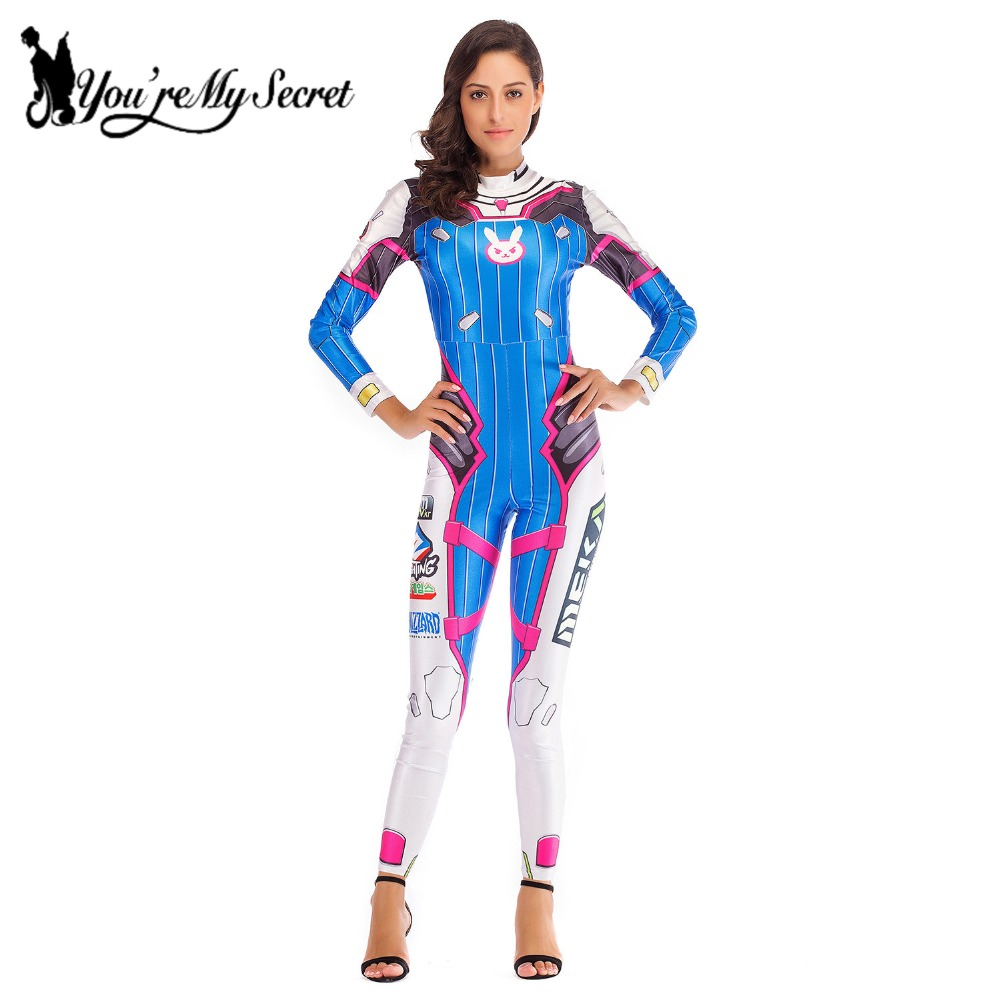 [You're My Secret] 2019 D.VA OW Game Cosplay Costume for Women Deadpool Super HERO Tracer Jumpsuit Party Sexy Catsuit Bodysuit