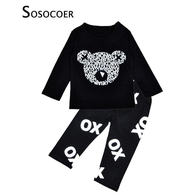 Sosocoer комплект одежды для маленьких мальчиков осень Носки с рисунком медведя из мультика футболка + OX письмо Брюки для девочек комплекты оде...
