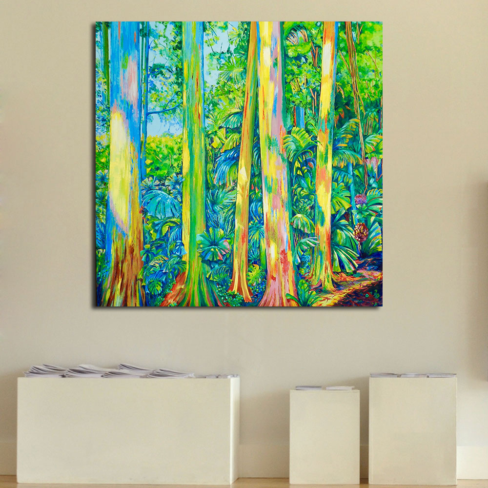 JQHYART Wall Art Colorful Tree Abstract Oil Painting on Canvas Wall ...