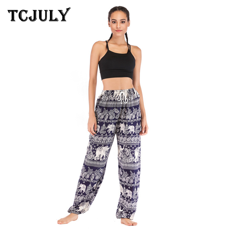 TCJULY Bohemian Elephant Print Harem Pants Women High Waist Drawstring Loose Casual Trousers 100% Rayon Breathable Summer Pants
