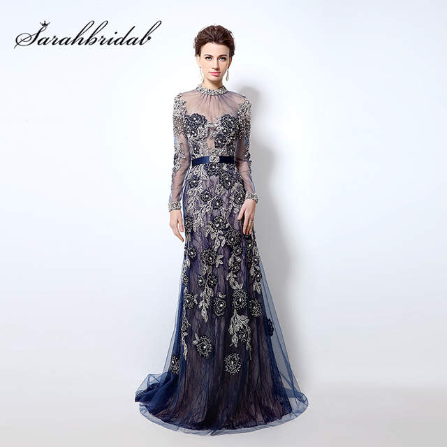 Luxury Beading Lace Evening Dresses Mermaid Royal Blue Long 2018 Chic High  Neck Illusion Long Sleeves. placeholder ... 9a3ebd47437b