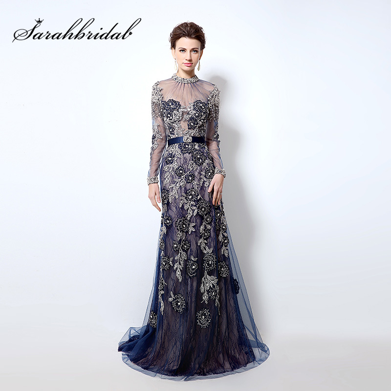 Luxury Beading Lace   Evening     Dresses   Mermaid Royal Blue Long 2018 Chic High Neck Illusion Long Sleeves Prom Gowns robe de soiree