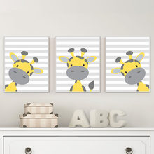 Nordic Wall Art Baby Giraffe Yellow and Grey Nursery Canvas Painting Cartoon Animal Prints and Poster Kid Bedroom Decor Picture(China)