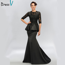 Vintage Jewel Appliques Sequins Halva Ärmar Lång Aftonklänning Robe De Soiree Matt Satin Abendkleider 11273841