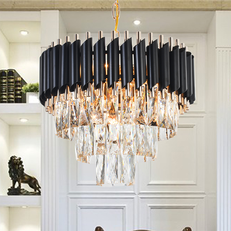 Good Quality K9 Crystal Chandelier Suspension Lighting Luminaires Hanging Lustre for Restaurant Crystal American Style Lamp