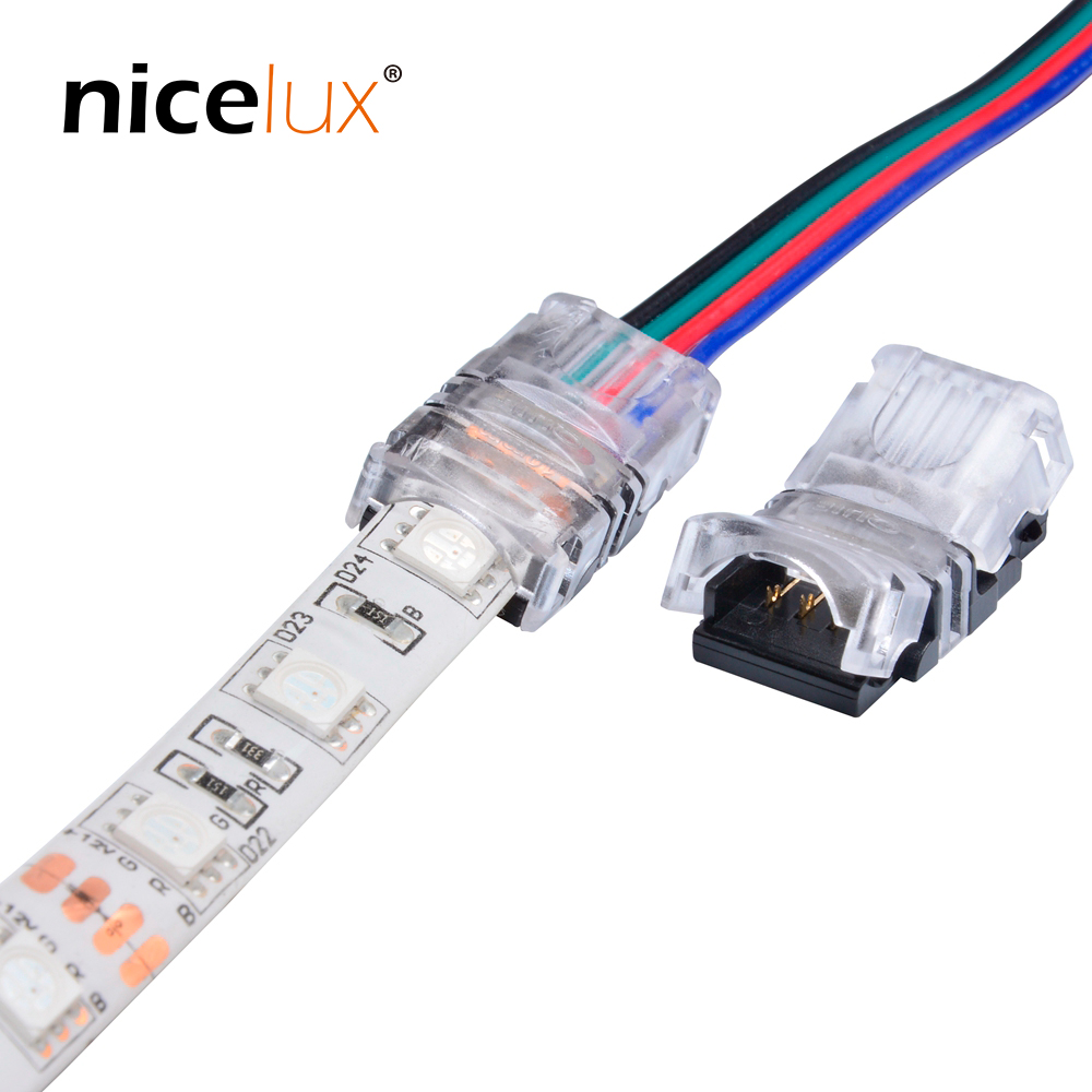 100pcs/lot 2pin 3pin 4pin 5pin LED Strip Connector For Single RGB RGBW Color 3528 5050 LED Strip To Wire Connection Use Terminal