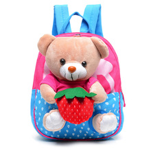 2017 Cute Kids School Bags Cartoon Bear Dolls Applique Canvas Backpack Mini Baby Toddler Book Bag Kindergarten Backpack