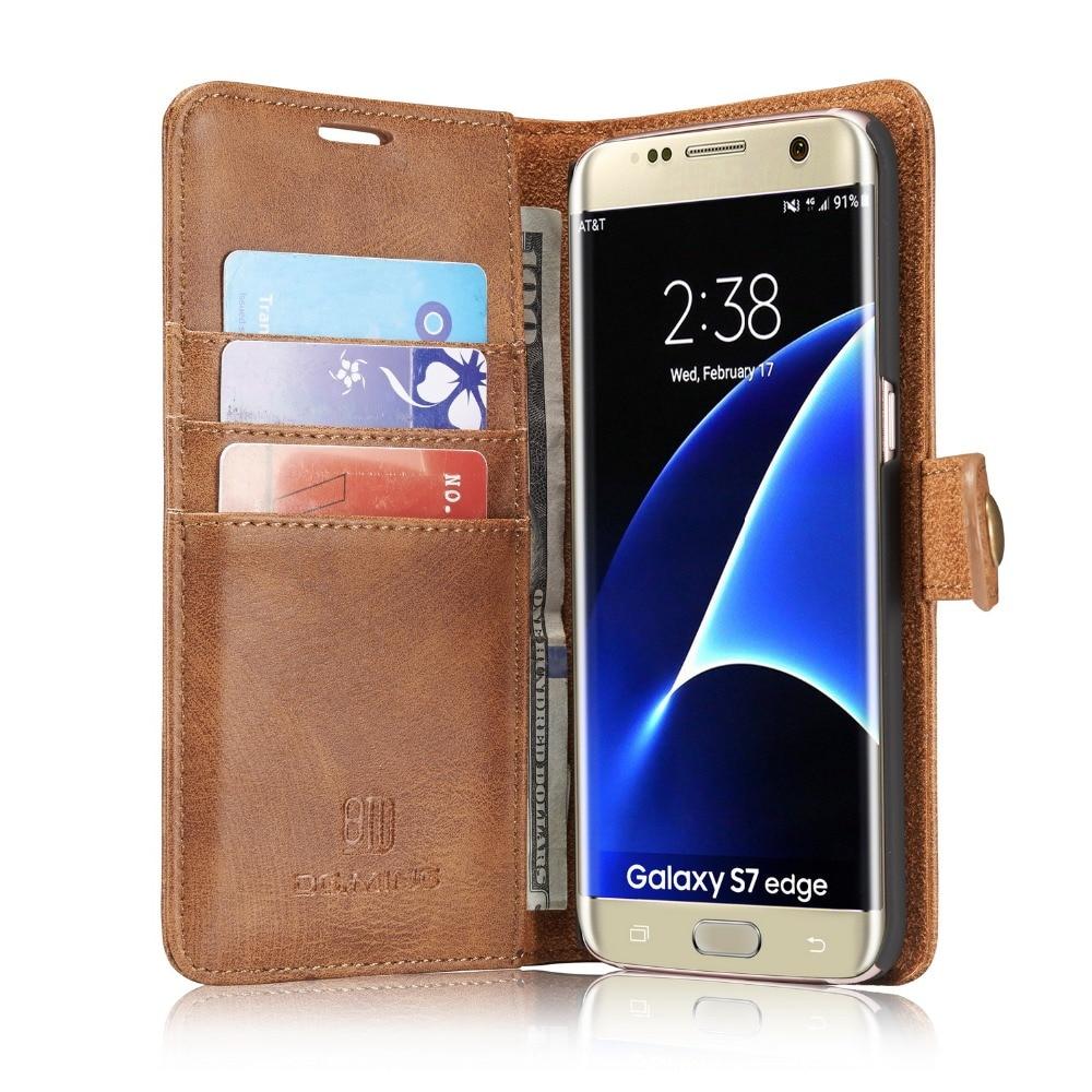 imágenes para Cubierta de la caja Cajas del teléfono Para Samsung GALAXY S7 S7Edge Carteras de Cuero Desmontable con Bolsillo de Tarjeta Magnética Slots caso de Negocio