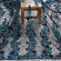 La Belleza 1 yard deep blue mixed colors metallic on mesh 3D flower wedding/bridal/evening dress lace fabric 51'' width SN171206
