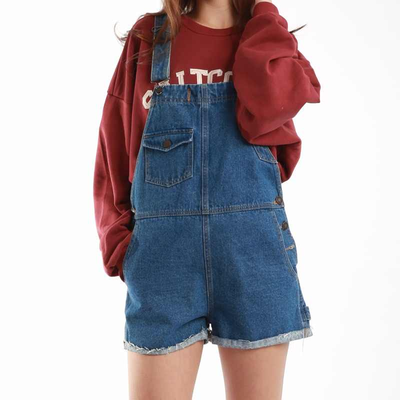 Women Denim Dungaree Short 100% Cotton  Blue Female Lady Jeans,Casual