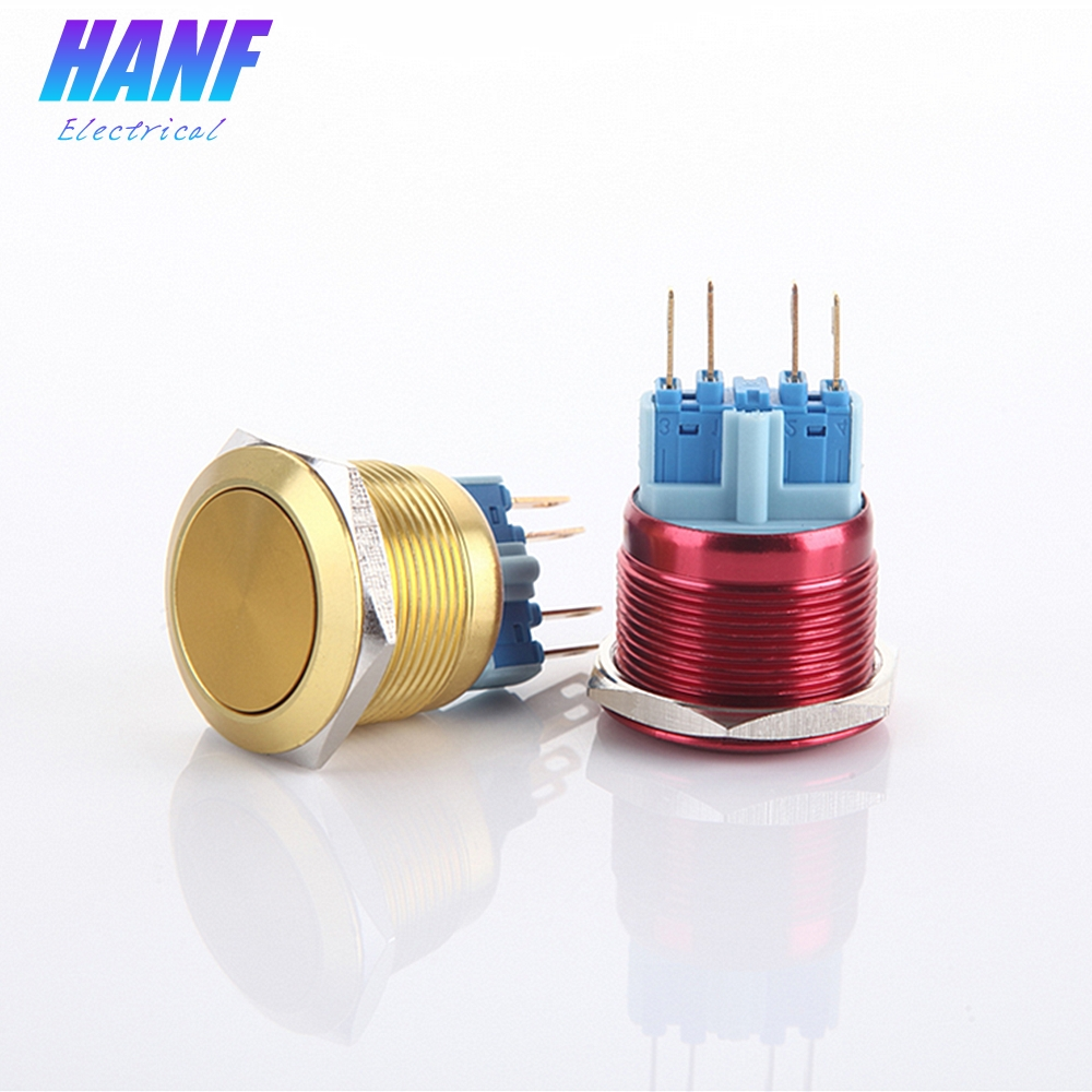 1pcs 22mm 1NONC Multicolour Flat Head Momentary Metal Push Button Switch Pin 4 Terminals Waterproof