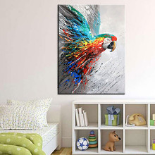 Modern Wall Art Handmade Colorful Parrot Oil Painting Canvas