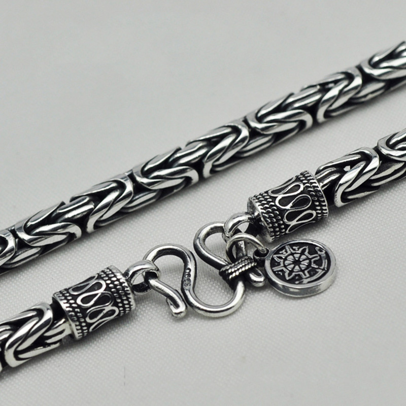 Guaranteed S990 Sterling Silver Heavy Chain Necklace Men Peace Lines Corsair Jewelleries Vintage Handmade Punk Style