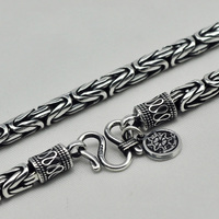 Guaranteed S990 Sterling Silver Heavy Chain Necklace Men Peace Lines Corsair Jewelleries Vintage Handmade Punk Style 2017 New
