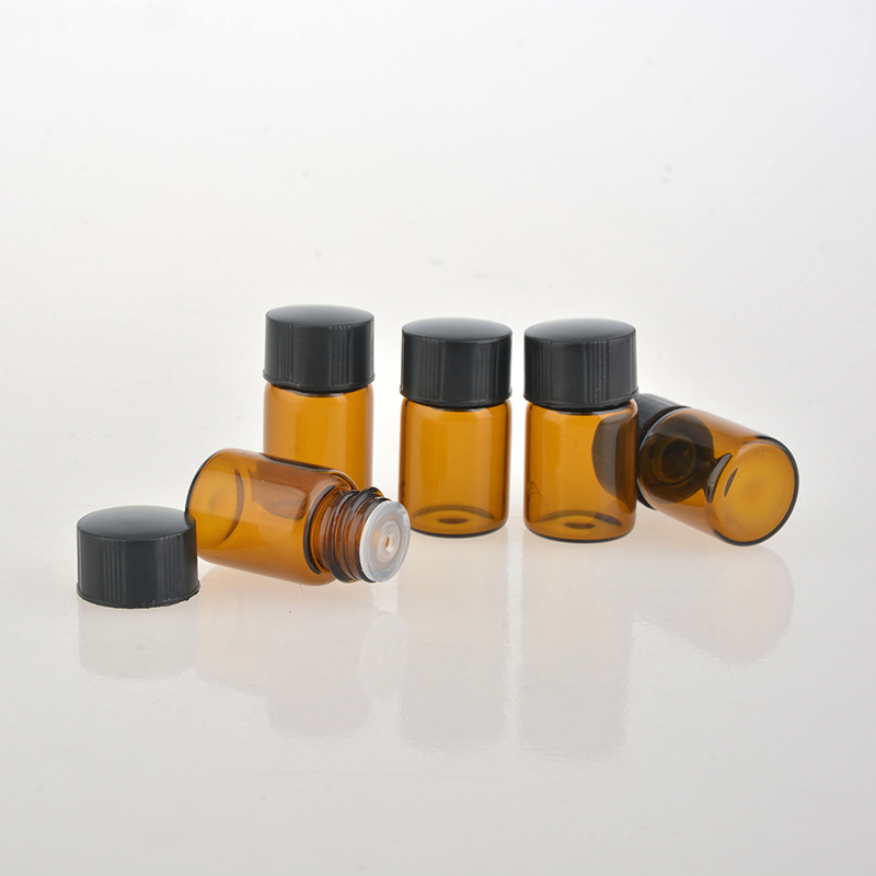 100Pieces/Lot 2ML Brown Glass Perfume Bottle For Essential Oils Empty Contenitori cosmetic Vuoti For Personal Care Sample Jar