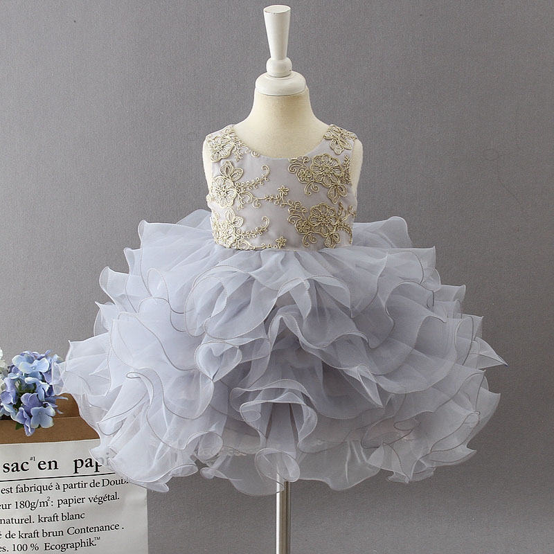New Style Baby Anniversary Birthday Party Banquet Embroidered Dress Flower Girl Princess First Dance Performance Dress