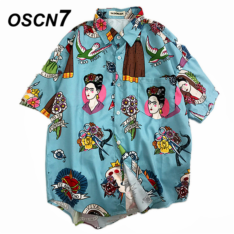 OSCN7 2019 Casual Printed Short Sleeve Shirt Men Street 2019 Hawaii Beach Women Fashion Short Sleeve Shirts Harujuku Mens 388