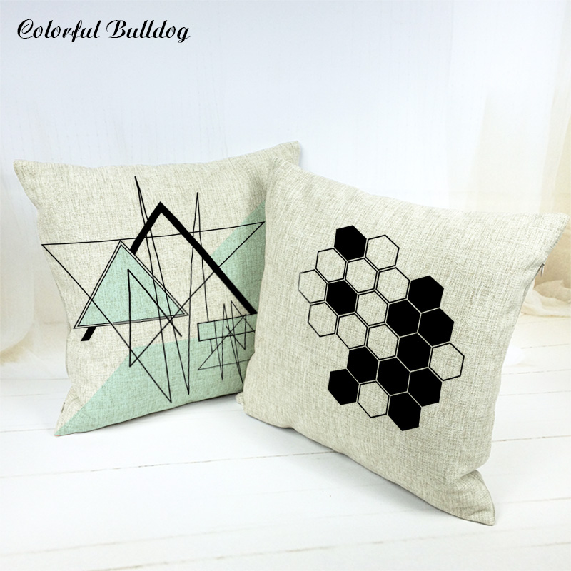 Painted Ethnic Geometric Capa Almofada Office Rectangle Home Decorative 17*17inch Fundas De Cojin Para El Cover Cushions Wedding