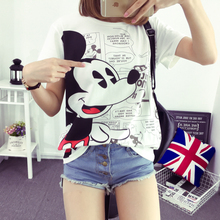 plus size tops blusas feminina spring summer 2016 korean fashion women loose harajuku kawaii loose mickey tshirts female A0831