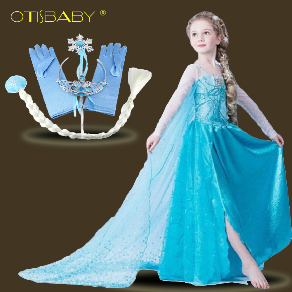 Summer Style Children Elsa Dress for Girls Clothing with Long Cape Snow Queen Prom Party Long Sleeve Beauty Girl Dress for 2-12Y